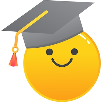 Emoji dans le vecteur d'icône de chapeau d'étudiant de remise des diplômes