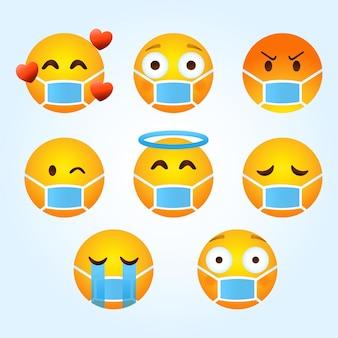Emoji dégradé avec collection de masques faciaux
