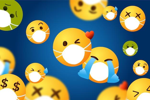 Emoji dégradé avec fond de masque facial