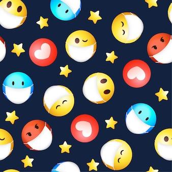Emoji dégradé avec motif de masque facial