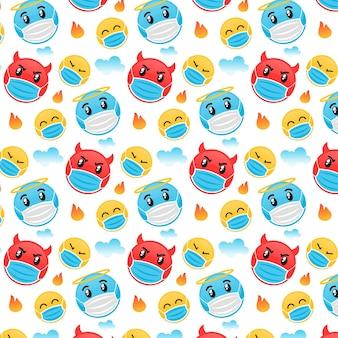 Emoji design plat avec motif de masque facial