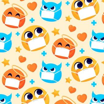 Emoji de dessin animé avec motif de masque facial