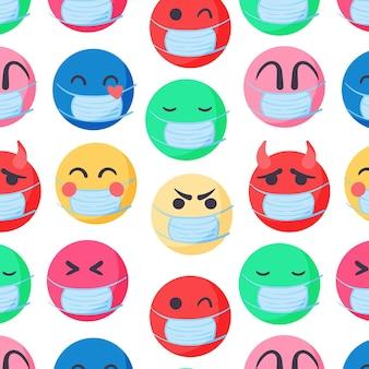 Emoji dessinés à la main avec motif de masque facial