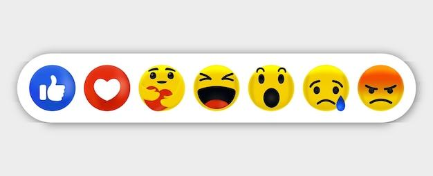 Emoji emotion - collection de réactions emoji pour les médias sociaux, émotions tout en étreignant avec soin