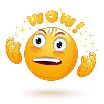 Emoji excité avec un regard admiratif et des yeux écarquillés disant wow
