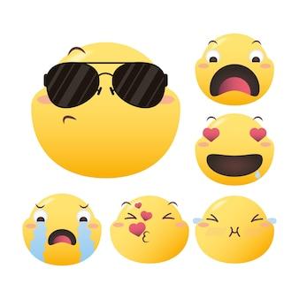 Emoji faces scénographie, expression de dessin animé émoticône et thème des médias sociaux illustration vectorielle