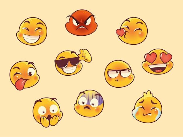 Emoji fait face à des icônes de collection de médias sociaux de réaction d'expression