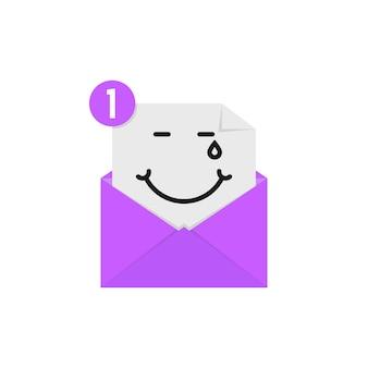 Emoji heureux dans la notification par lettre violette. concept d'amusement, larmes de bonheur, compassion, caractère, postal, humeur, sens. conception graphique de logo moderne tendance style plat sur fond blanc