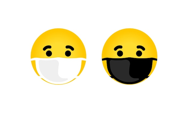 Emoji avec illustration d'icône de masque buccal. visage jaune aux yeux fermés portant un masque chirurgical blanc. vecteur eps 10. isolé sur fond blanc.