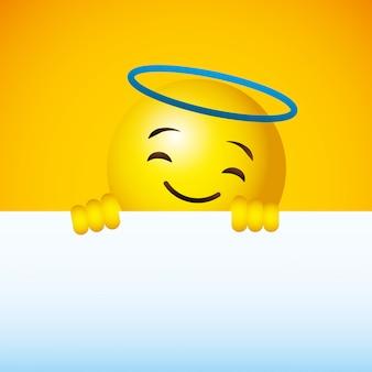 Emoji jaune fond de visage rond