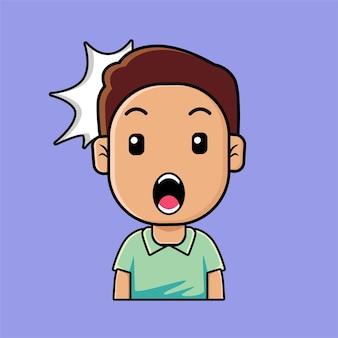 Emoji mignon garçon surpris, étonné, dessin animé d'expression du visage wow