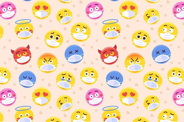 Emoji avec motif de masque facial