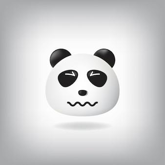 Emoji de panda confus aux yeux froissés, bouche froissée.