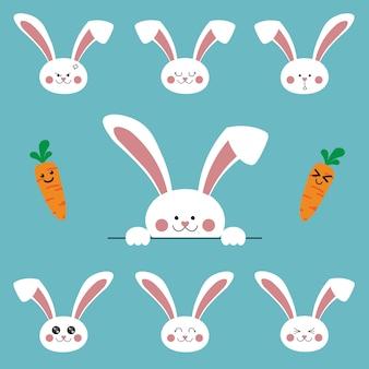 Emoji de personnages de dessin animé mignon lapin lapin