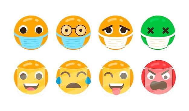 Emoji plat avec masque facial
