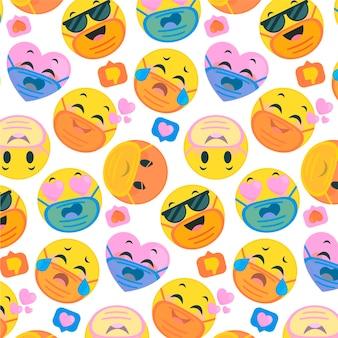 Emoji plat avec motif de masque facial