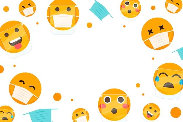 Emoji plat avec papier peint masque facial