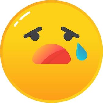 Emoji pleurer triste icône émoticône déchirer sur le vecteur de visage