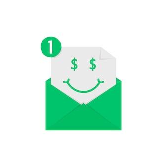 Emoji riche en notification de lettre verte. concept de gagner, riche, cash, recevoir des sms, mignon, coopération, chat, e-mail, messager, spam. conception graphique de logo moderne tendance style plat sur fond blanc