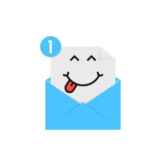 Emoji satisfait dans la notification de la lettre bleue. concept de personnage, chat, miam, lèvres, réseau social, application mobile, e-mail, sms. conception graphique de logotype moderne tendance style plat sur fond blanc