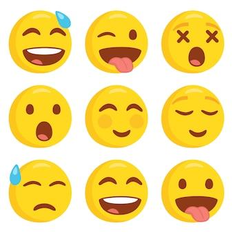 Emoji smile emoticon face set