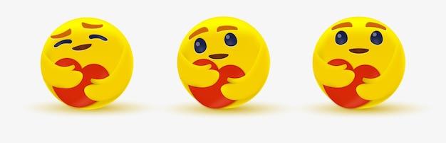 Emoji de soins pour émoticône de réseau social avec un cœur rouge à deux mains - yeux brillants étreignant - montrant des soins