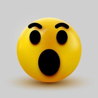 Emoji surpris isolé sur émoticône blanc, choqué.