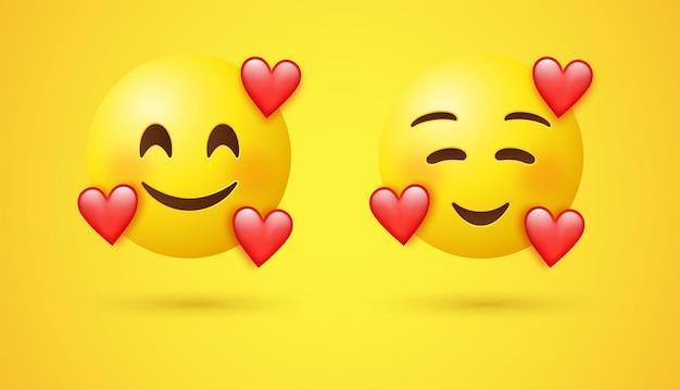 Emoji avec trois coeurs ou visage emoji affectueux souriant 3d avec des yeux souriants