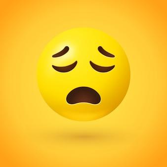 Emoji visage bouleversé avec les yeux fermés