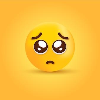 Emoji de visage de plaidoirie 3d - émoticône yeux brillants