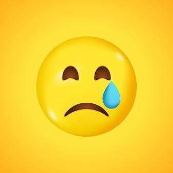 Emoji visage rayonnant avec émoticône qui pleure. grand sourire en 3d