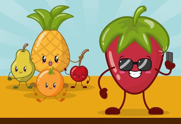 Emojis aux fruits de kawaii