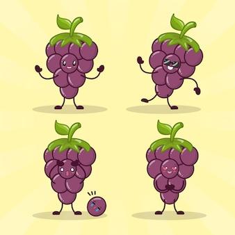 Emojis aux raisins kawaii heureux