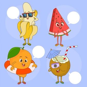 Emojis à la banane, à la pastèque, à la mangue et à la noix de coco heureux en été