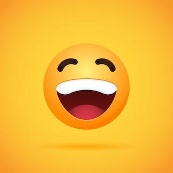 Emojis de dessin animé émoticône sourire pour les médias sociaux sur orange. illustration