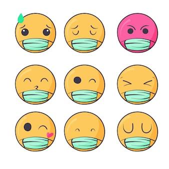 Emojis dessinés à la main avec masque facial