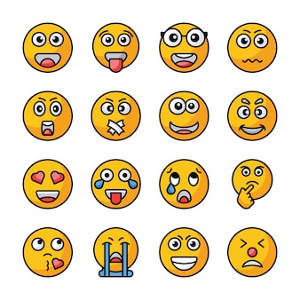 Emojis flat vector icons collection