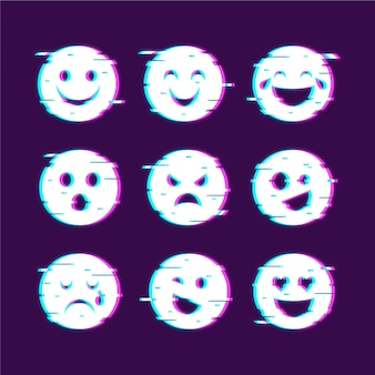 Emojis glitch icons collections
