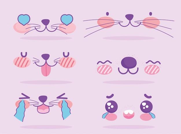 Emojis kawaii dessin animé mignon chien expression visages ensemble