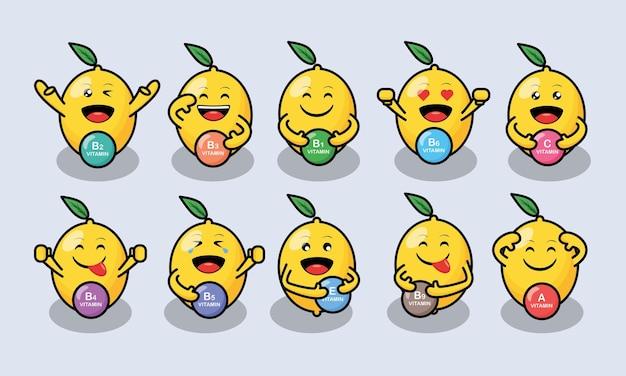 Emojis mignons de citron vert avec une sorte de conception de vecteur de vitamines