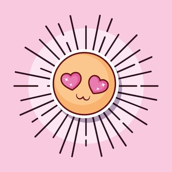 Emoticon yeux coeurs amour style cartoon