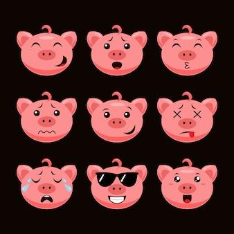 Émoticône cochon mignon