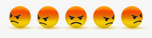 Émoticône en colère ou emoji grincheux - émoticône, en colère, faisant la moue, grincheux, emoji rouge fou pour les médias sociaux