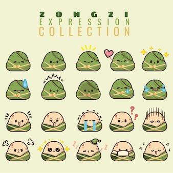 Émoticône de collection zongzi de bateaux dragon dans différentes expressions
