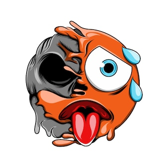 Émoticône expression fatiguée avec transpiration du crâne noir