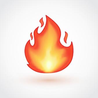 Émoticône de flamme isolée sur fond gris clair