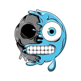 Émoticône froide bleue change en émoticône visage crâne sombre