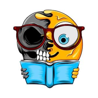 Émoticône intelligente avec des lunettes changent en livre de tenue de crâne sombre