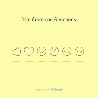 Émoticône plat réaction collectio
