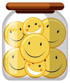 Émoticône de sourire dans le bocal en verre